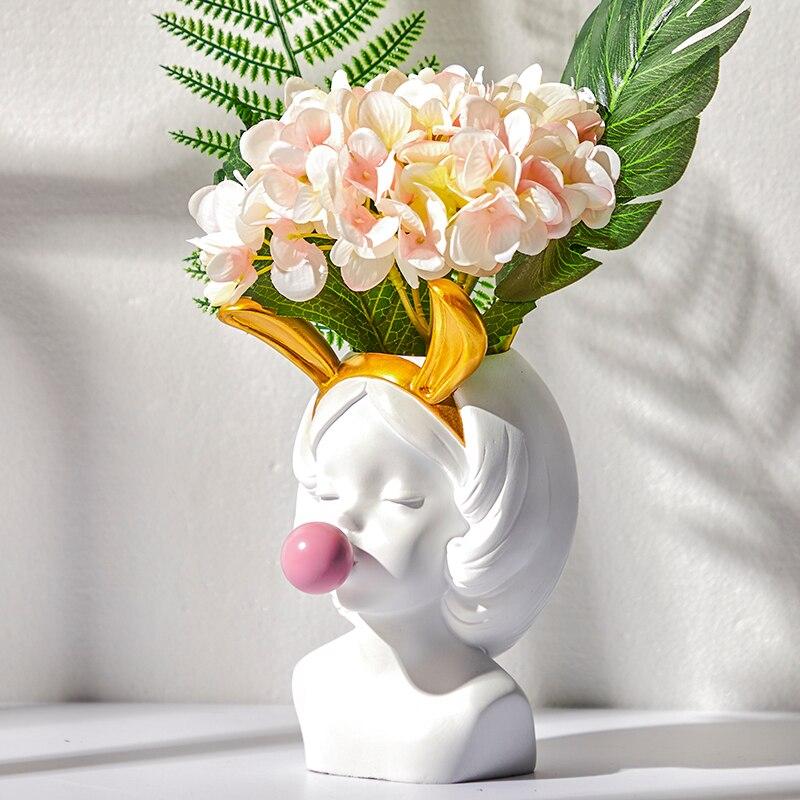 Nette Harz Vase Weiße Blume Topf Nordic Bunny Mädchen Vasen Statue Pflanzer Topf Make-Up Pinsel Veranstalter Halter Tisch Kunst Dekoration