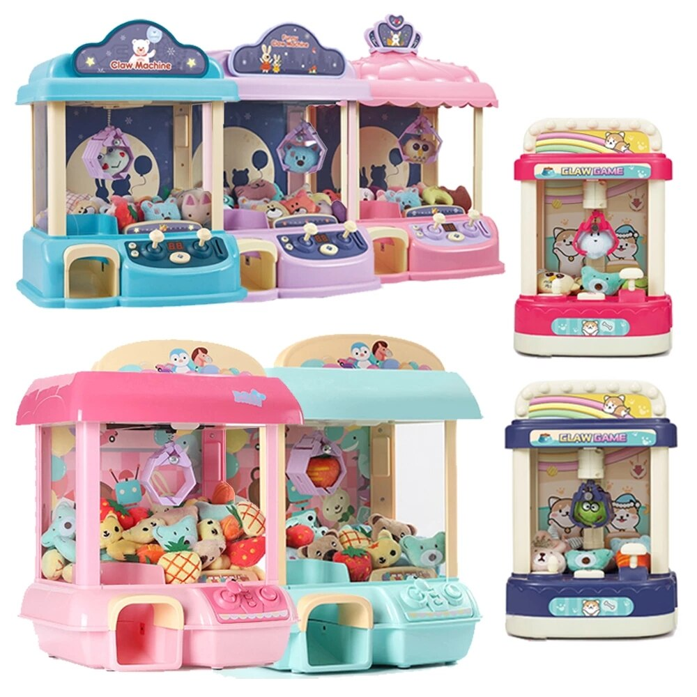 DIY Doll Machine Kids Coin Operated Play Game Mini Claw Catch Toy Crane Machines Music Doll Children Xmas Birthday Gifts