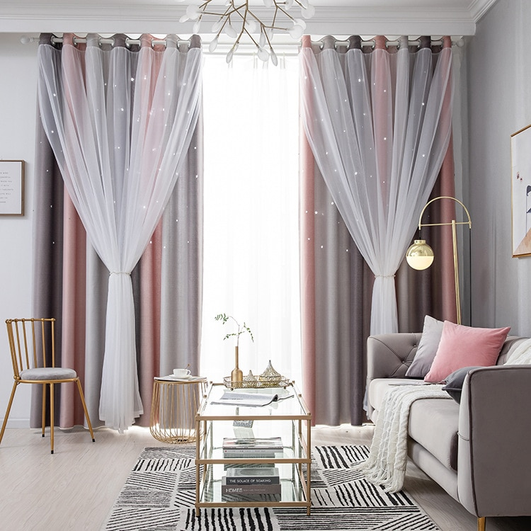 Cortina de estilo nórdico para sala de estar, dormitorio, con rayas degradadas, estrellas huecas, cortinas con degradado