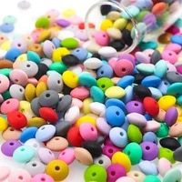sunrony 100pc 12mm silicone lentil beads multi color abacus loose eco friendly bead diy pacifier chain nursing baby teether toys
