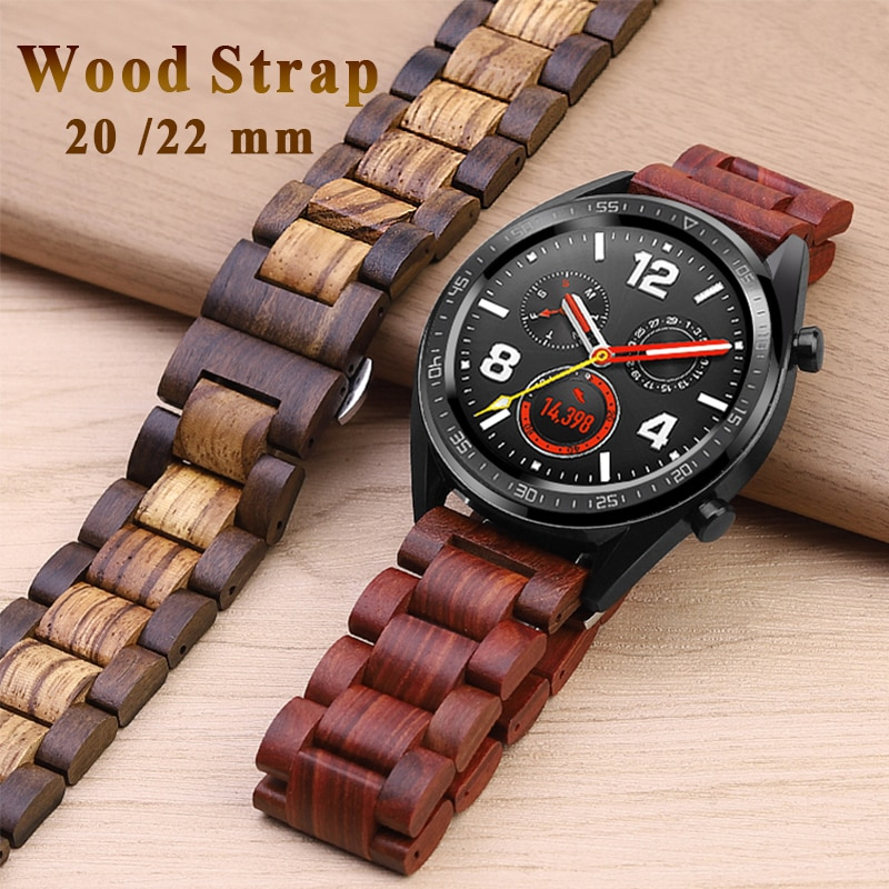 HighQuality Wooden watchband 20 22mm For Galaxy 42/46mm for huawei watch GT Natural Bamboo strap Gea