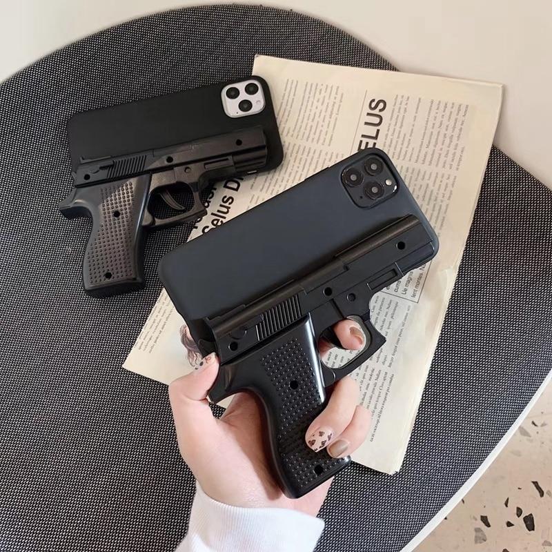 Funda de teléfono de lujo con pistola 3D para iphone 11 Pro Max XS X Max XR 7 8 plus, funda trasera de teléfono de juguete de silicona suave
