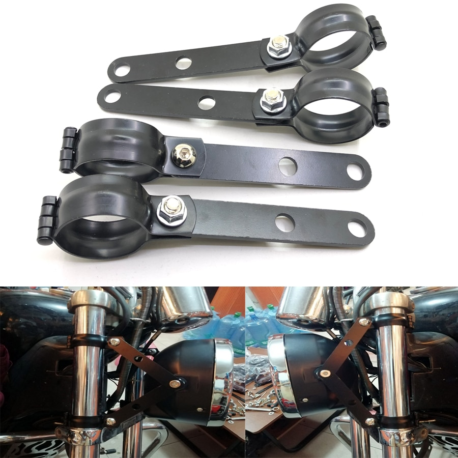2 uds negro Universal soporte para el faro delantero de la motocicleta montaje 39-41MM tenedor Abrazadera para Suzuki Cafe Racer Yamaha Kawasaki triunfo
