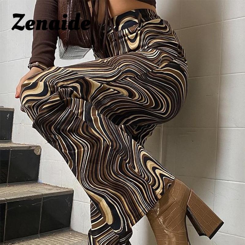 Zenaide High Waist Streetwear Pants Brown Tie Dye Printed Vintage 2021 Y2K Fashion Outfits Club Bott