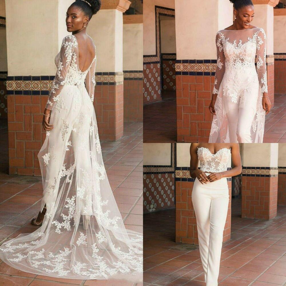 Promo Long Sleeve Bohoace Applique Wedding Jumpsuit with Wrap Train 2021 African Nigerian Plus Size Bride Garden Holiday Wedding