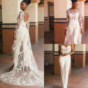 Long Sleeve Bohoace Applique Wedding Jumpsuit with Wrap Train 2021 African Nigerian Plus Size Bride Garden Holiday Wedding