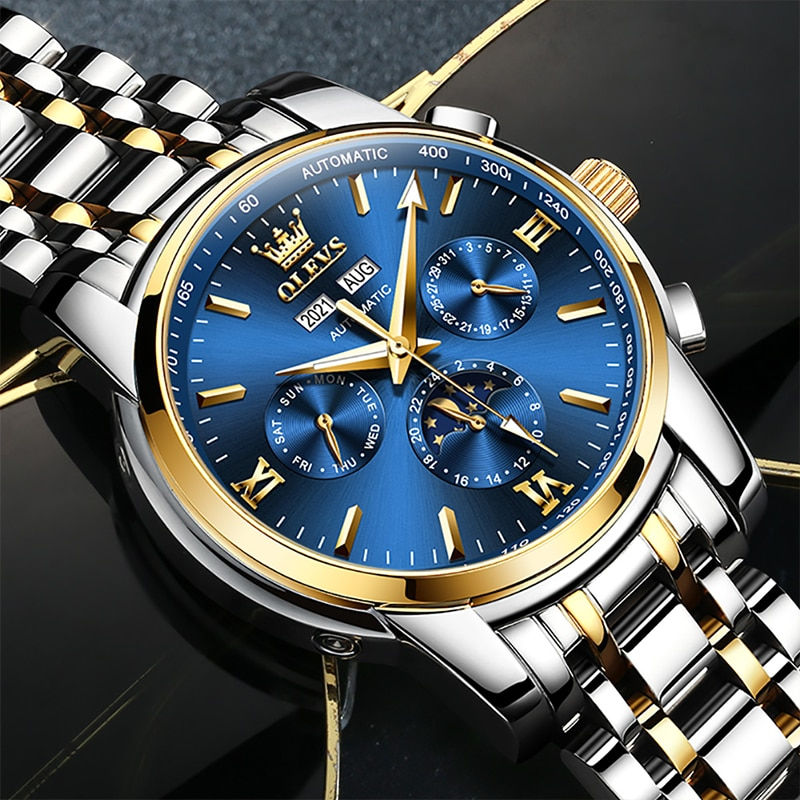 OLEVS 2021 New Luxury Automatic Mechanical HD Luminous Moon Phase 30M Waterproof Stainless Steel Strap Watches Reloj Hombre 6633 enlarge