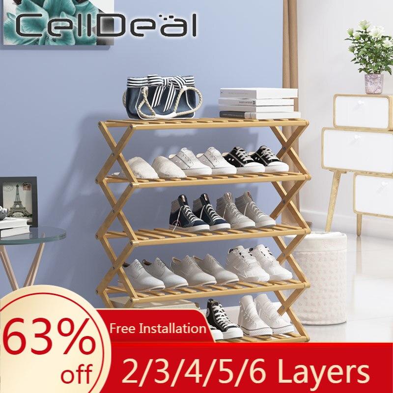 CellDeal 2/3/4/5/6 Layers Free Installation Plant Shoe Display Stand Shelf Folding Shoe Rack Flower Pots Display Storage Shelf