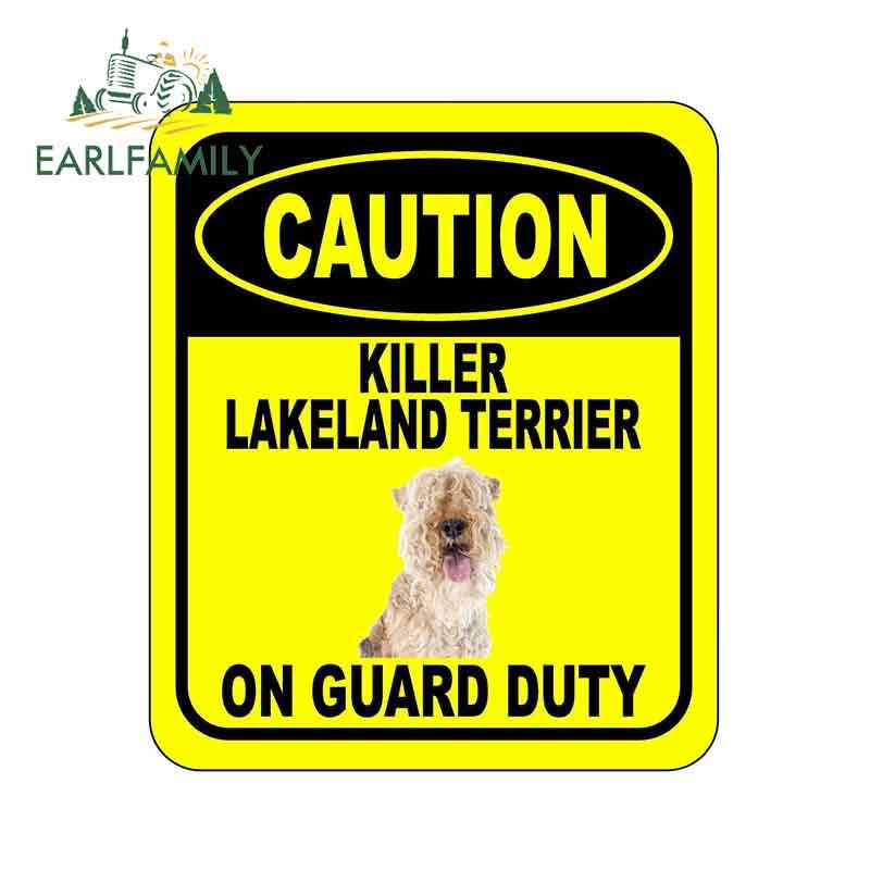 EARLFAMILY 13cm x 11cm precaución asesino LAKELAND TERRIER en guardia coche adhesivo para cubrir arañazos signo compuesto Pet perro pegatina