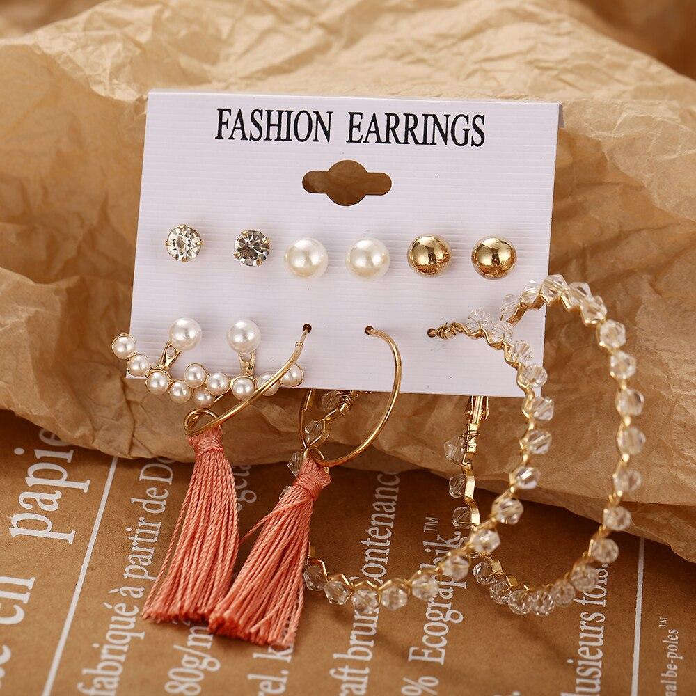 Модные богемные серьги-кольца с кисточками, большие круглые серьги для женщин, Винтажные серьги с жемчужинами, золотые круглые серьги, сере...