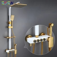 thermostatic shower set sdsn white gold bathroom shower system copper brass bathroom shower faucet rainfall white shower set