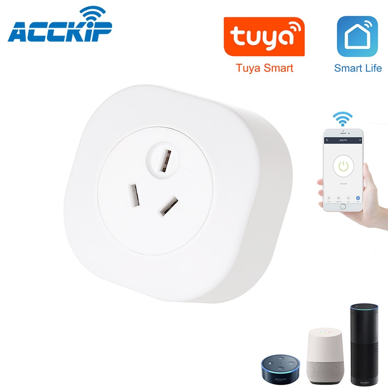 Acckip austrália nova zelândia inteligente tomada de energia wi fi inteligente tuya app controle para alexa conectado por wifi plug energia montior