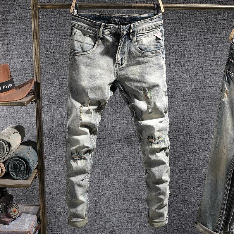 Европейские винтажные модные мужские джинсы в стиле ретро, Эластичные зауженные рваные джинсы, Мужские Дизайнерские повседневные брюки из ...