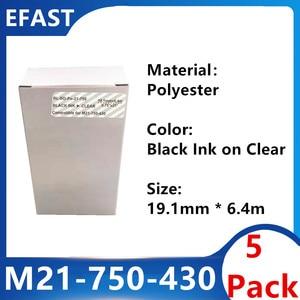 5 Pack M21 750 430 Polyester Label Ribbon Black On clear For BMP21 PLUS Printer Black On Transparent M21-750-430 19.1mm * 6.4m