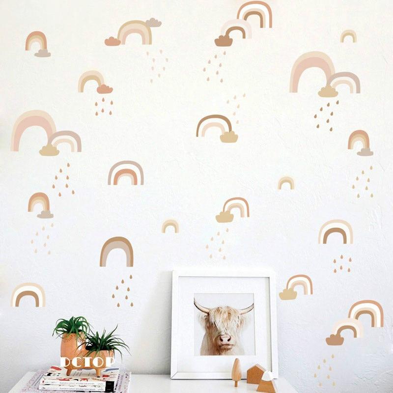 Acuarela DIY Arco Iris lluvia pegatina de pared sala de estar dormitorio niños fondo de sala de pared papel autoadhesivo papel tapiz