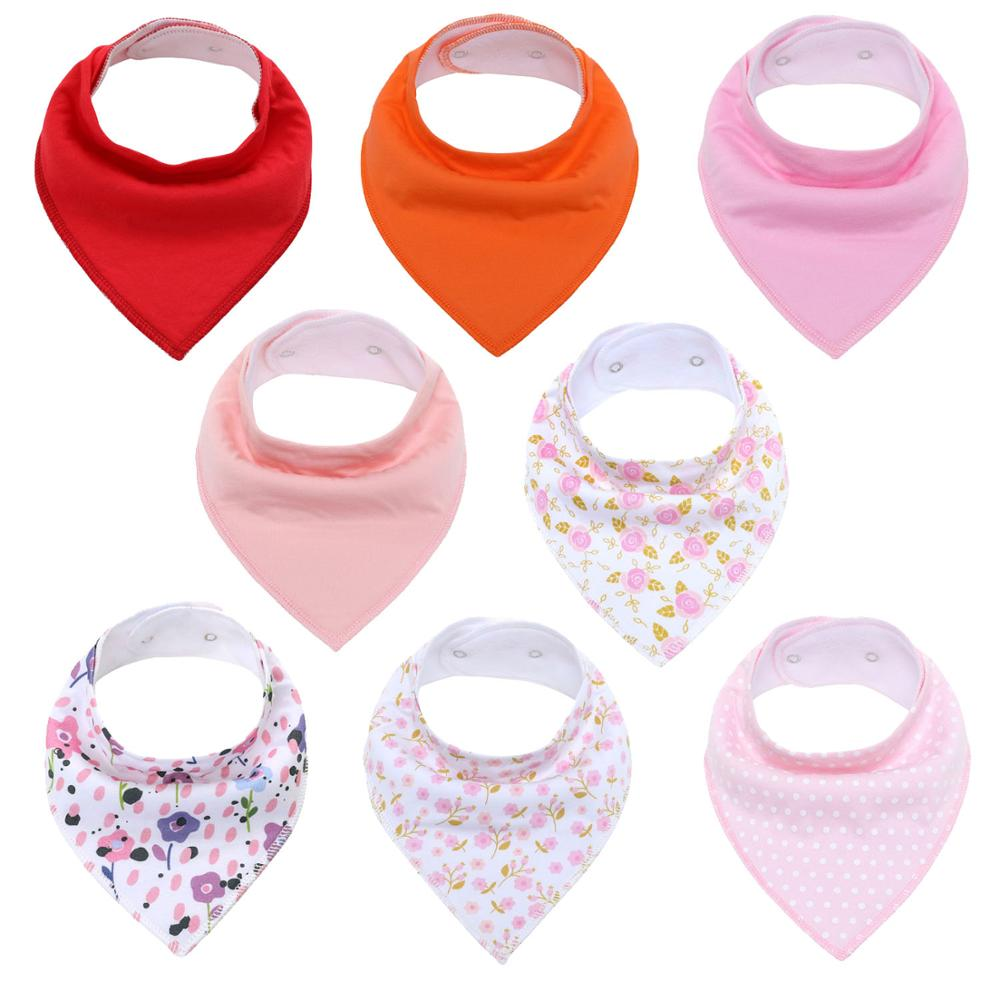 8Pcs Baby Bandana Drool Bibs Unisex Bibs Gift Set for Drooling and Teething Organic Cotton Soft & Absorbent Hypoallergenic Bibs