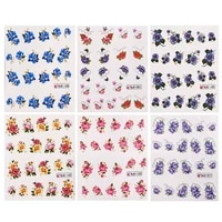 55pcsset flower and butterfly design nail water decals nail art transfer stickers decor stickers designer tools for manicure
