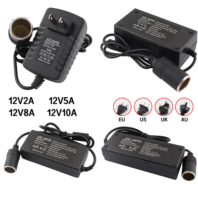 AC To DC Power Adapter 12V Car Adapter Converter Cigar Lighter Transformer 110V 220V to 12V 2A 5A 8A