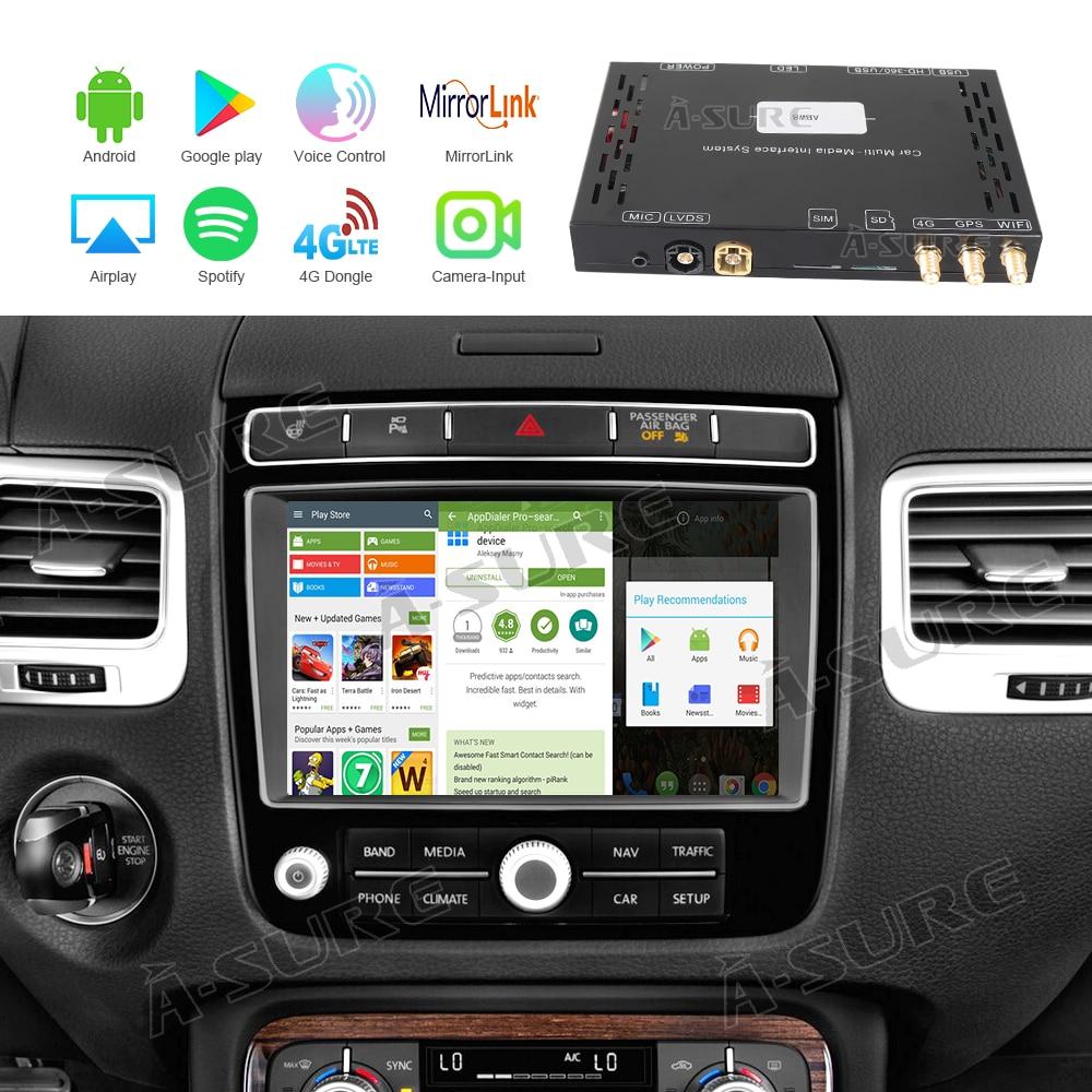 A-بالتأكيد سيارة والإعلام أنظمة الفيديو واجهة الروبوت 9.0 فك مربع GPS ل فولكس فاجن طوارق RNS-850 2011-2018 4K 4G LTE سيم