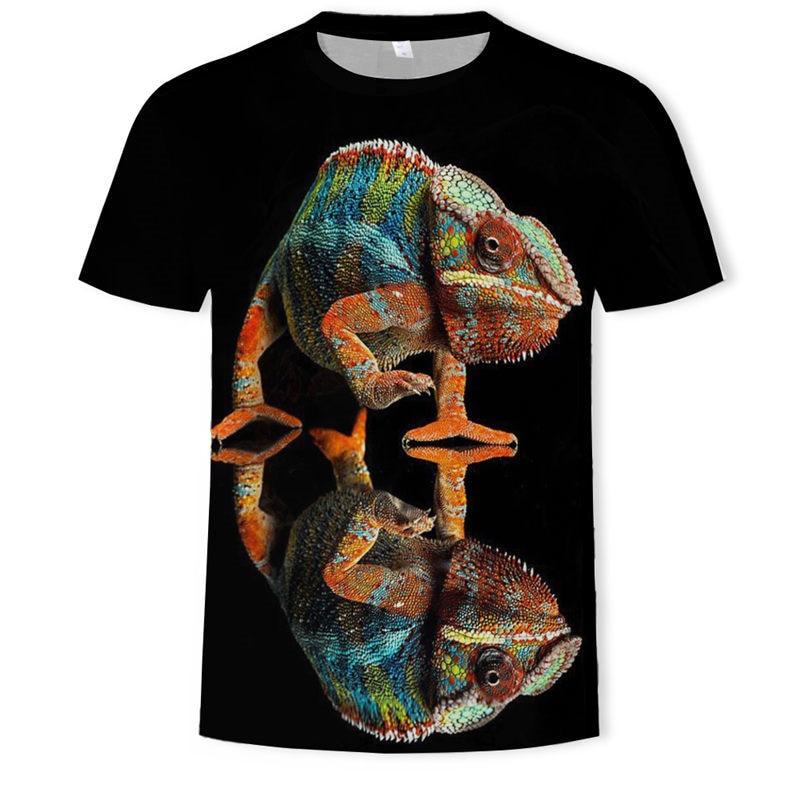 2019 nuevos animales de moda de los hombres 3d camiseta de lagartija gota 3d impreso patrón de Gecko de manga corta Camiseta de tamaño asiático