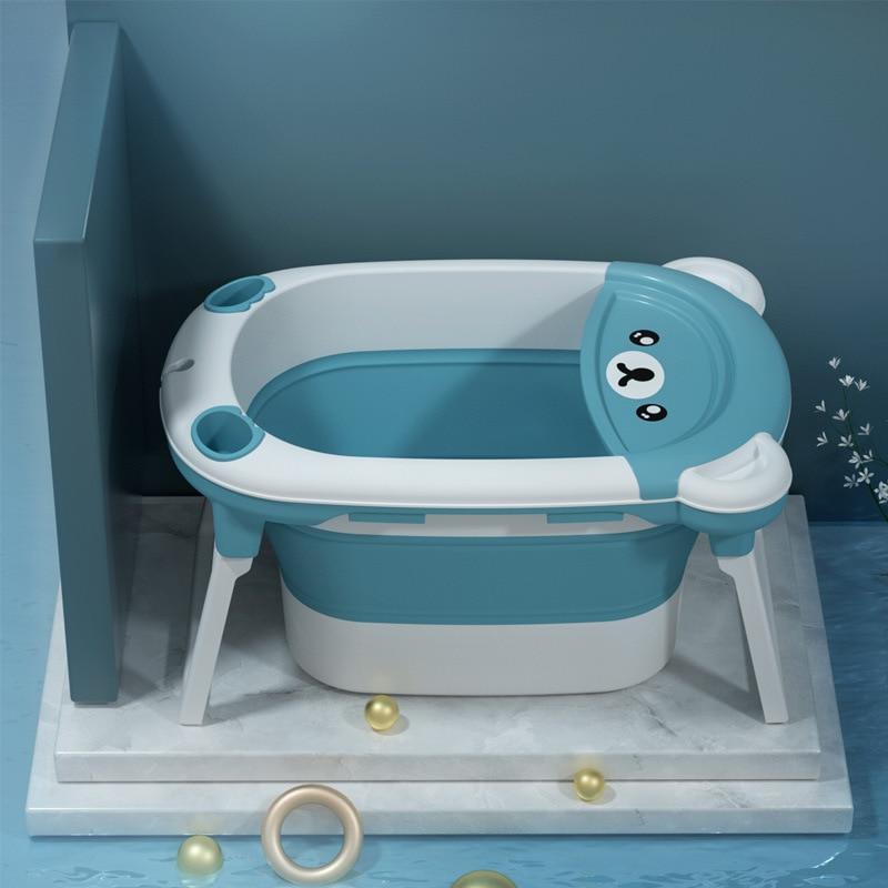 Baby Bath Tub Large Children's Folding Tub Dual-purpose Tub Multifunctional folding Swimming Tub Suitable Bath Barrel  for 0-6Y