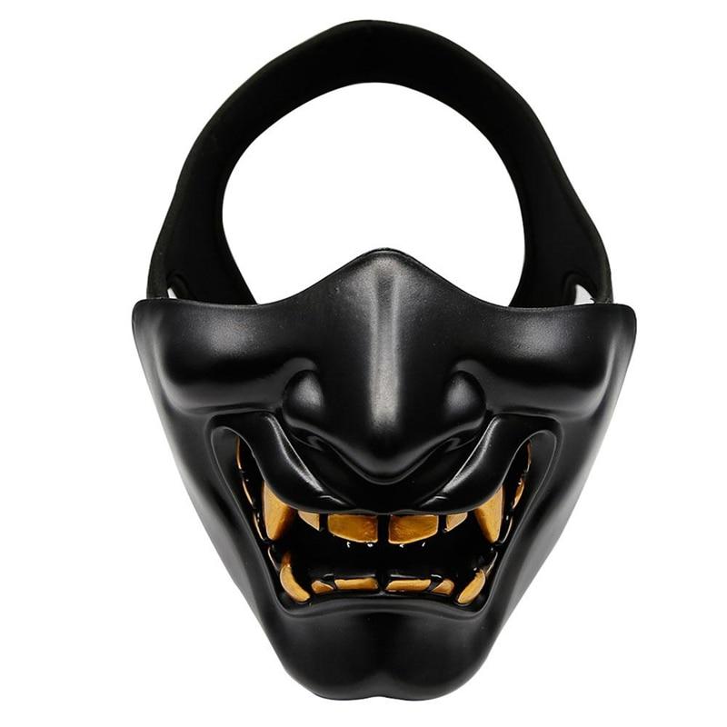 Disfraz de Halloween Cosplay con caries dental demonio malvado Kabuki Samurai media cubierta máscara fiesta decoración de miedo, negro