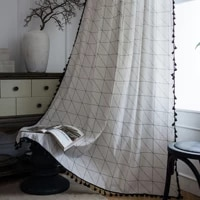 curtain finished white geometric printing semi shading bay window living room bedroom kitchen luxury home decoration room
