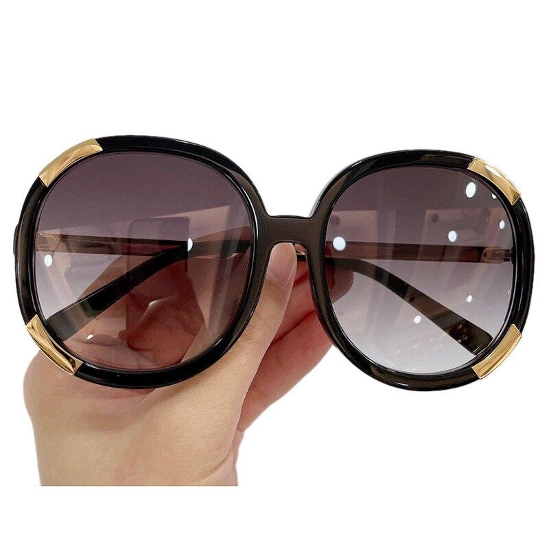 موضة النظارات الشمسية المستديرة النساء الفاخرة العلامة التجارية تصميم مرآة نظارات شمسية مع صندوق UV400 Oculos دي سول