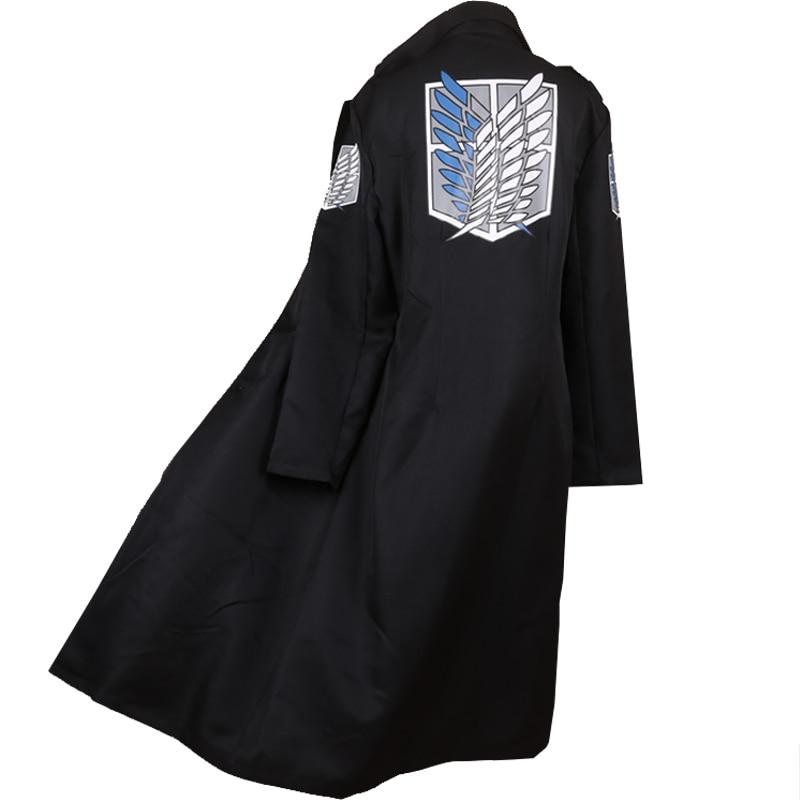 Attack on Titan Shingeki No Kyojin Survey Corps Levi Black Long Trench Autumn Winter Coat Jacket Top Cosplay Costume / Black Wig