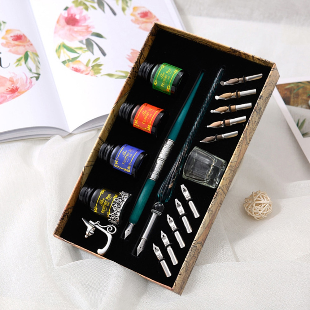 European Dip Pen Sets Fountain Retro Starry Sky Glass Calligraphy Pen Stationery Gift School Supplies Writing Supplies