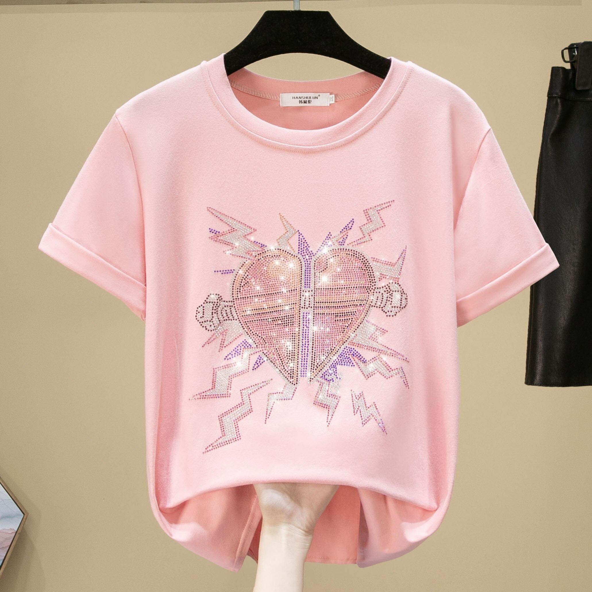 Camiseta Coreana de algodón de 100% para mujer 2020 novedad de verano taladro caliente adorno de corazón chica estudiante Tops talla grande S-3XL