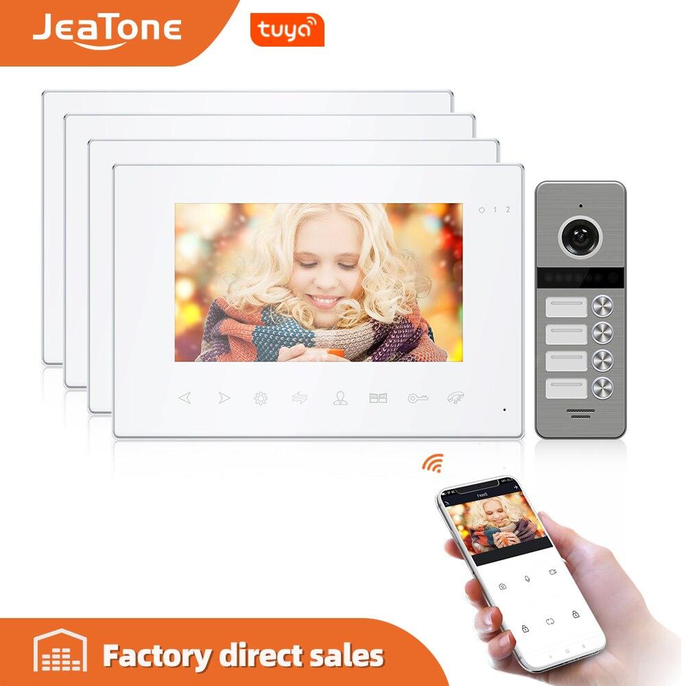 JeaTone-هاتف فيديو مع شاشة Tuya مقاس 7 بوصات ، اتصال داخلي للمنزل ، مع جهاز تحكم عن بعد متعدد اللغات ، وكاشف للحركة ، وفتح مزدوج