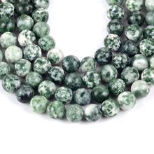 """Natürliche Green Spot Stein Runde Lose Perlen Für Schmuck Machen 4-12mm Spacer Perlen Fit Diy frauen armbänder Schmuck 15 """"Strang"""