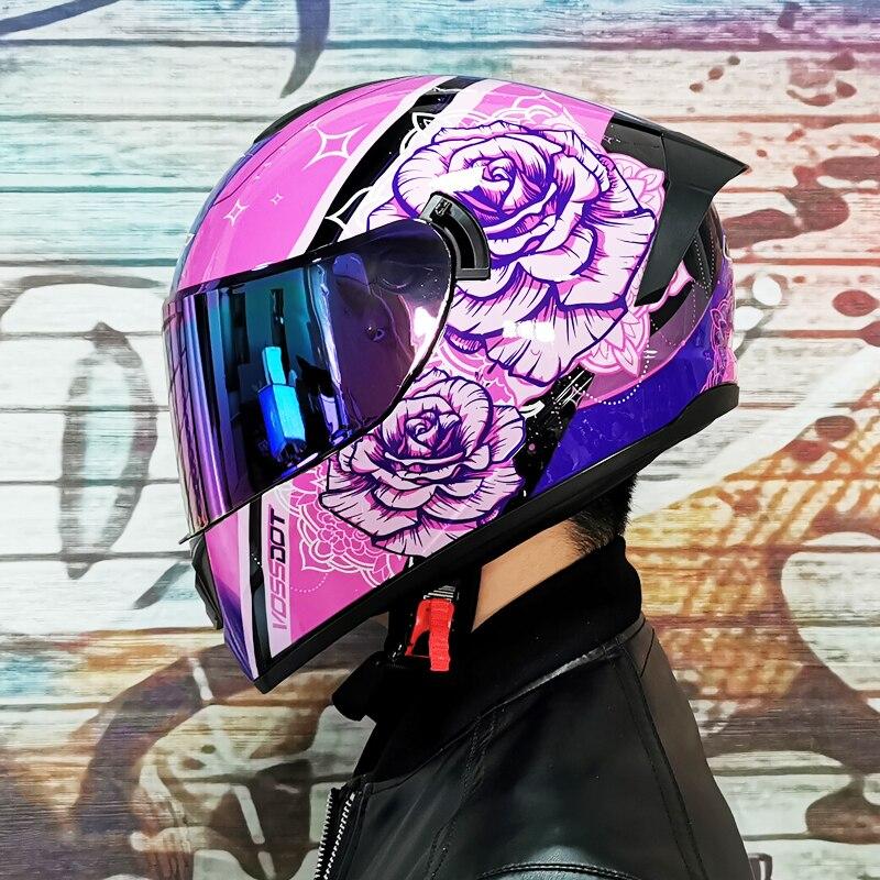 خوذة دراجة نارية مضادة للضباب للرجال والنساء, خوذة دراجة نارية لكامل الوجه ، مضادة للتوهج ، واقية من الشمس ، مضادة للضباب ، قناع أزرق بنمط زهر...