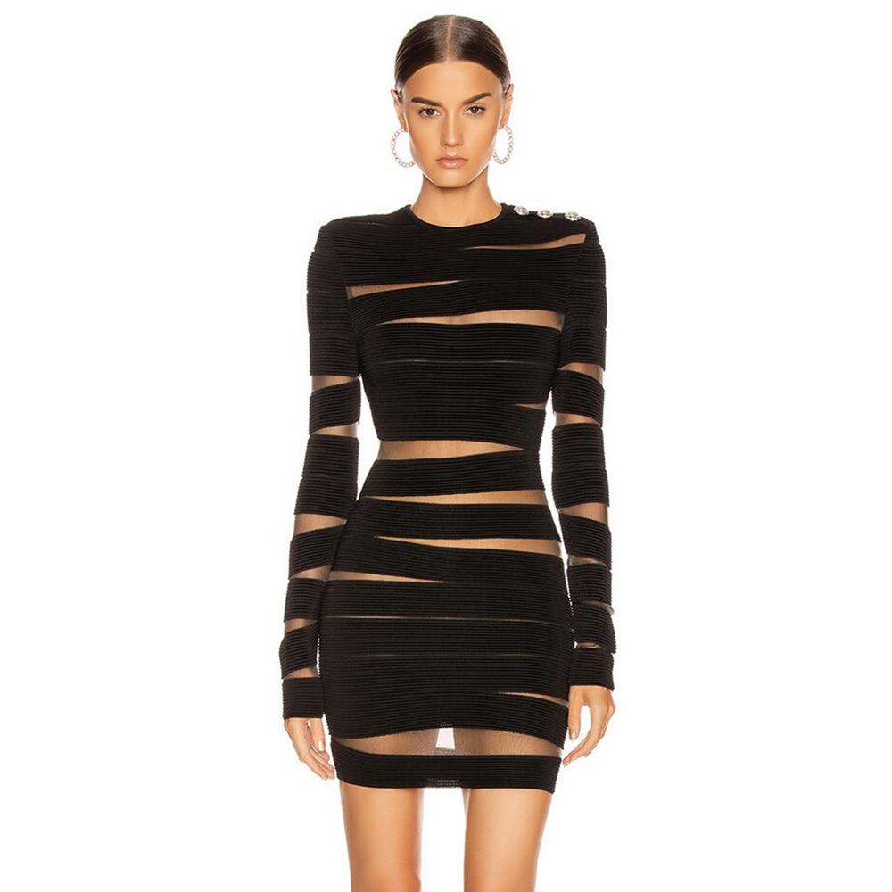 Deer Lady Women Bandage Dress High Quality 2020 Party Black Mesh Long Sleeve Bandage Dress Bodycon Mini Dress Sexy Clubwear