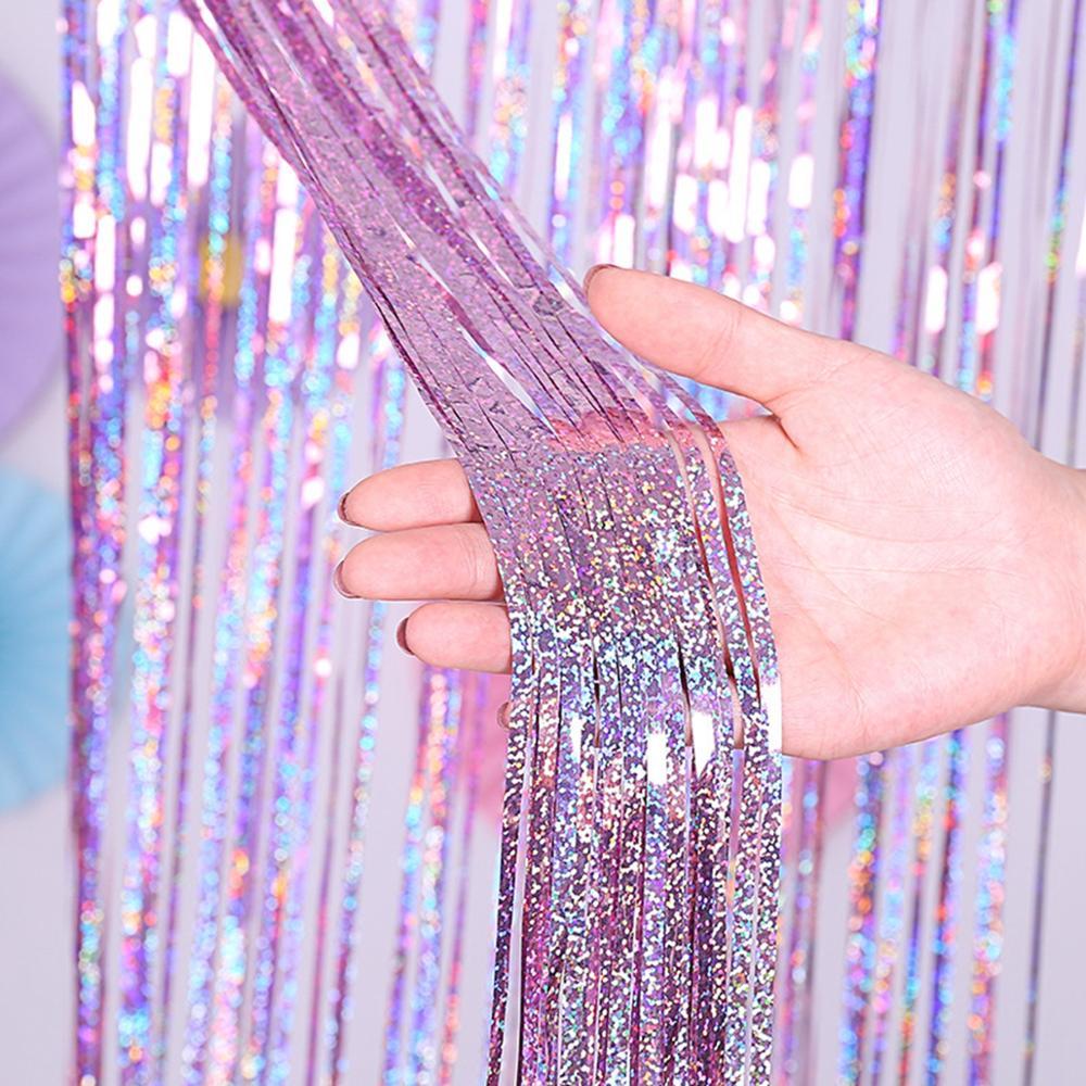 QIFU despedida de soltera telón de fondo cortinas brillo oro Tinsel Fringe Foil cortina cumpleaños boda decoración Fondo adulto Decoración