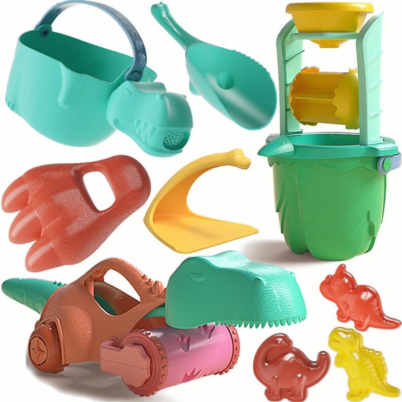 Summer Baby Soft Beach Toys Set Dinosaur Bucket Shovels Outdoor Game Children Sandbox Toys for Kids Play Sand Water Tools Kit