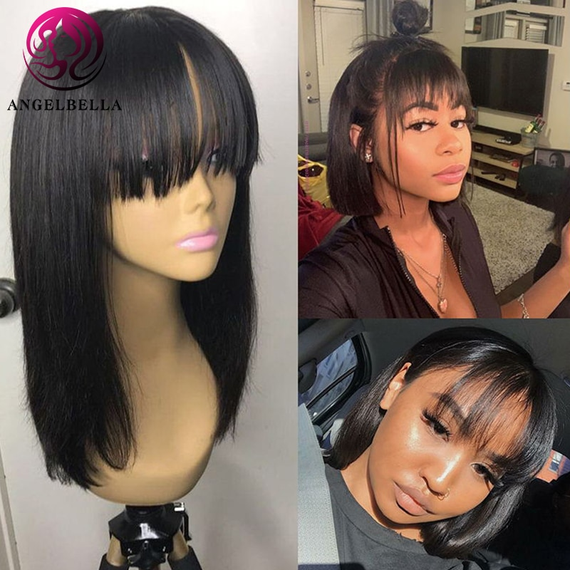 Angelbella 14 inches Straight Bob Human Hair Wigs With Bang Brazilian Remy Human Hair Bob Wigs No La