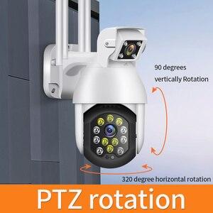 1080P Auto-Tracking Samrt Outdoor Security WIFI Dome Camera  Dual-lens Audible Alarm PTZ 4X Digital Zoom PIP CCTV Surveillance