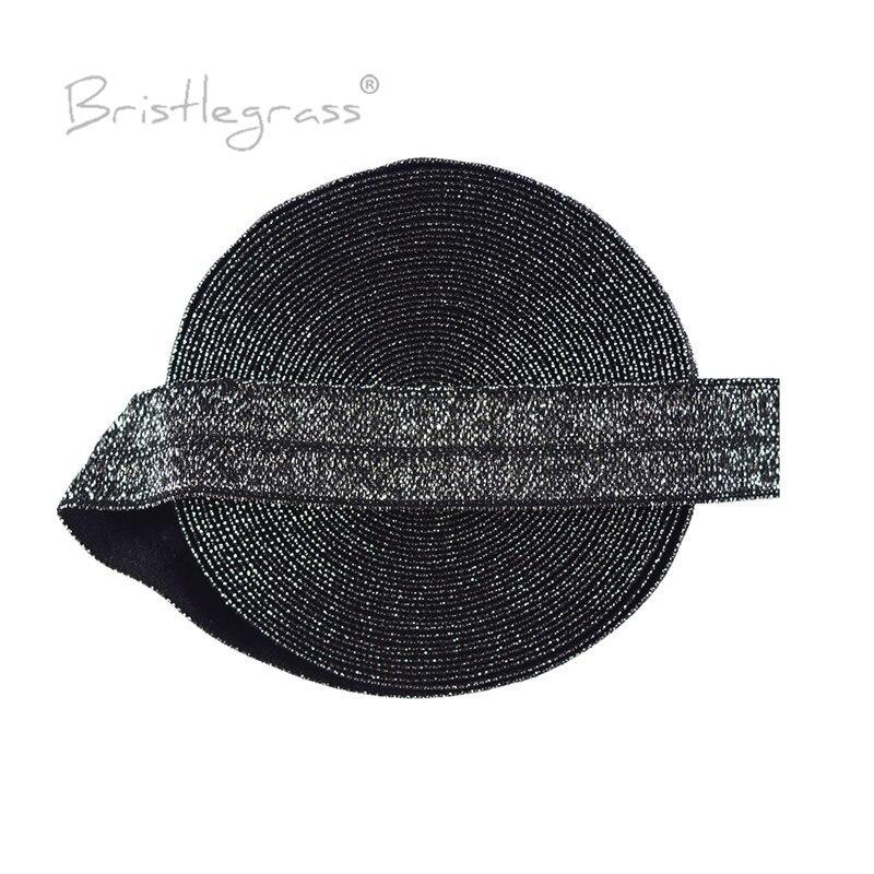 """BRISTLEGRASS 5 yardas 5/8 """"15mm plata FOE de purpurina negro doblar sobre elásticos Bandas de Spandex cinta para el pelo diadema Tutu vestido costura Trim"""