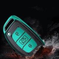 leather tpu car key fob full cover case skin bag shell key chain holder for hyundai ix25 ix35 elantra verna sonata tucson