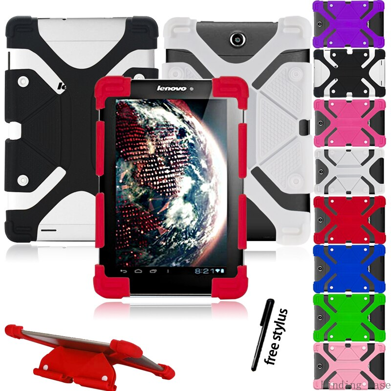 Case For Lenovo Tab E10/ M10/ P10 10 inch Tablet Shockproof Soft Silicone Stand Case Cover Protective Case + Free Stylus
