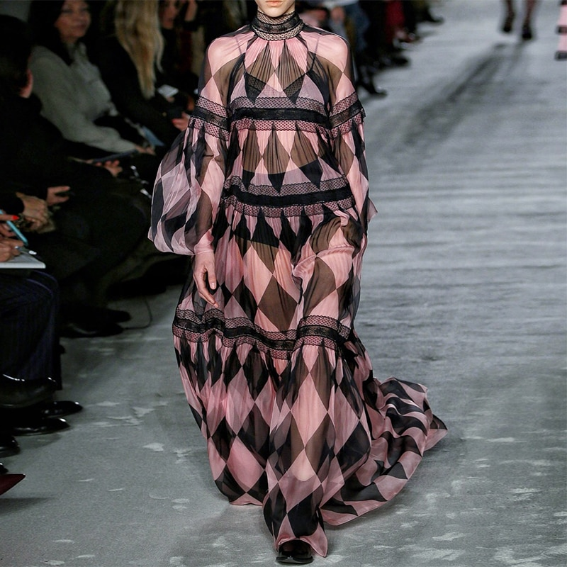 S-3XL جودة عالية 2021 الصيف موضة جديدة منقوشة المطبوعة الدانتيل خياطة النسخة فضفاضة كم فستان نسائي سليم مع حبال