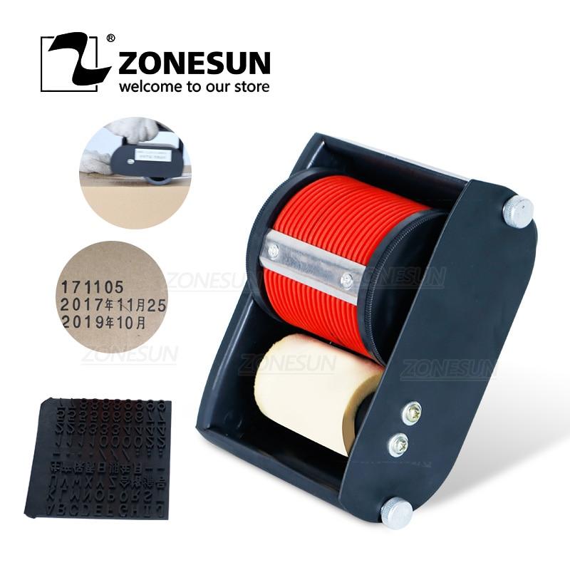 ZONESUN يده طابعة بتاريخ الإنتاج دفعة رقم المبرمج المحمولة المتداول ماكينة ترميز للكرتون