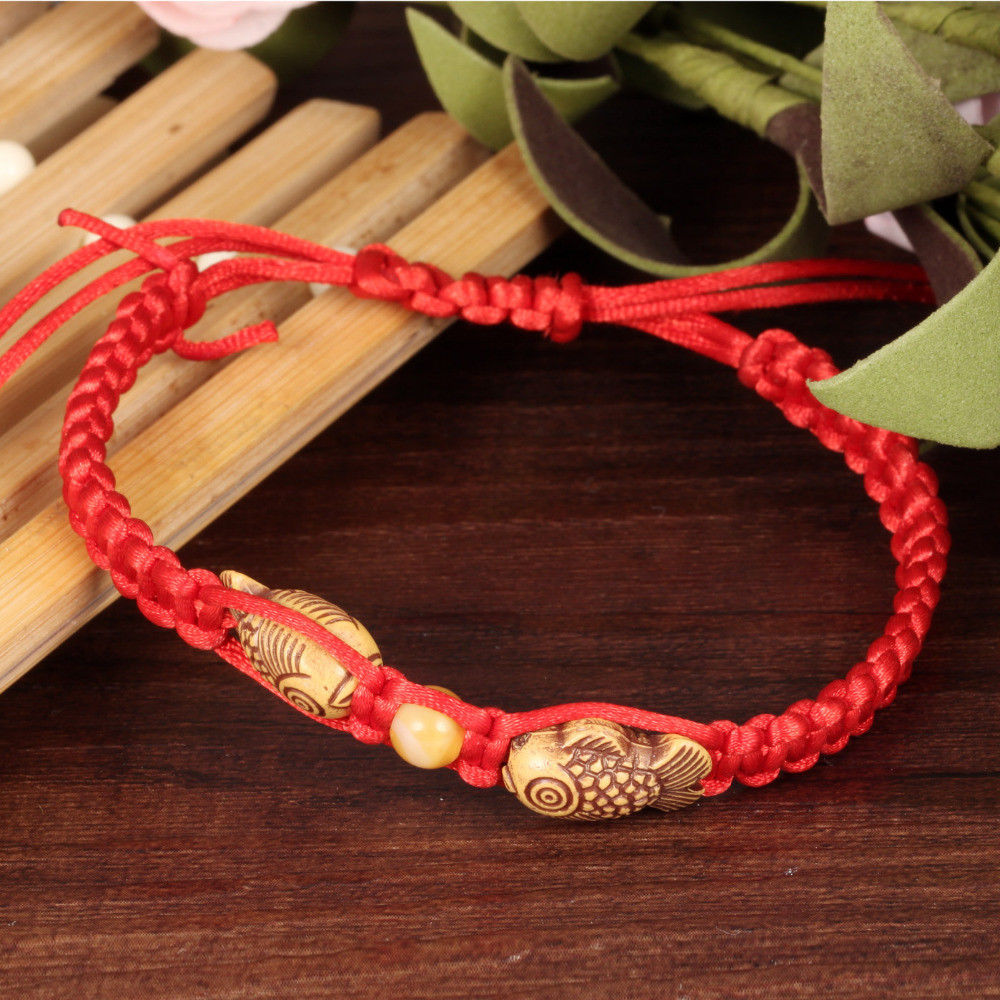 De suerte hilo rojo a mano pez de madera pulsera de hilo de cuerda roja de trenza Chakra pulseras para parejas hombres mujeres regalos