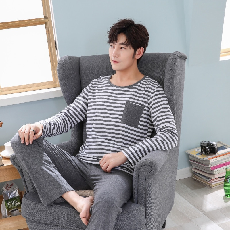 2021 Spring Long Sleeve Casual Striped Cotton Pajama Sets for Men High Quality Sleepwear Suit Pyjamas Male Homewear Home Clothes