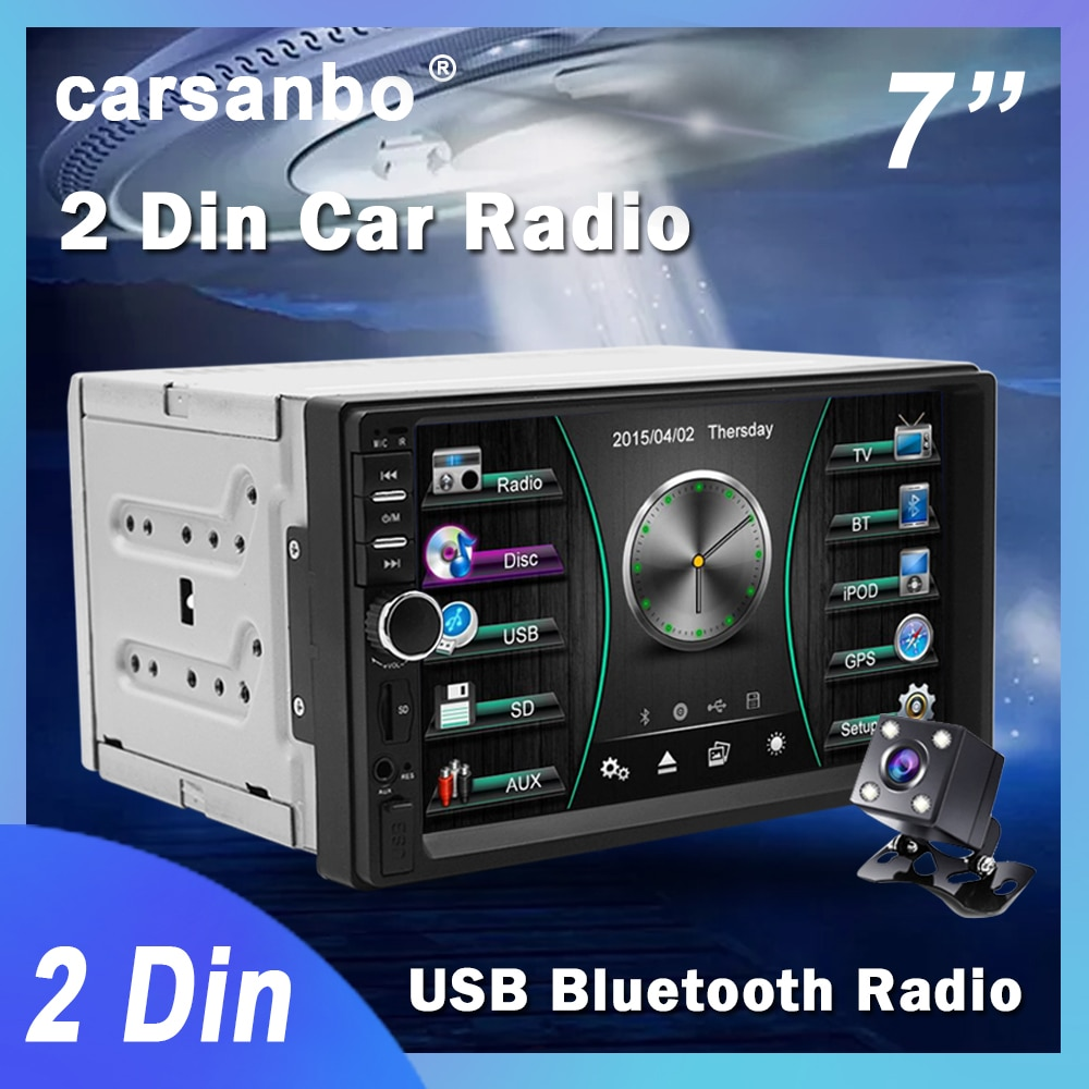 Carsanbo 2 Din 7 Inch Car Radio Touch Screen Stereo Multimedia Player MP5 Mirror Link Android/IOS Bluetooth FM SD USB AUX Input 7 hd touch screen 12v car stereo player 7010b car radio autoradio mp5 fm bluetooth mirror link 2 din car radio stereo receiver