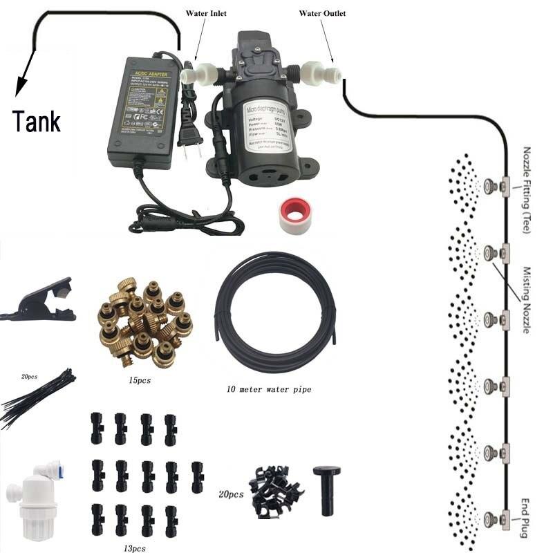 F147 Diy 10m (32ft) sistema de enfriamiento de nebulización de agua de Patio con 12v 60w 5l/min presión de autocebado de agua para riego de invernadero