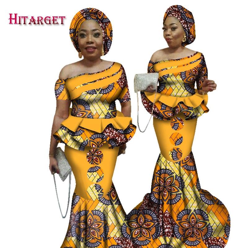 В наличии, размер, низкая цена, богатый Африканский принт Bazin Kanga, комплект одежды из 2 предметов с головным убором WY2526
