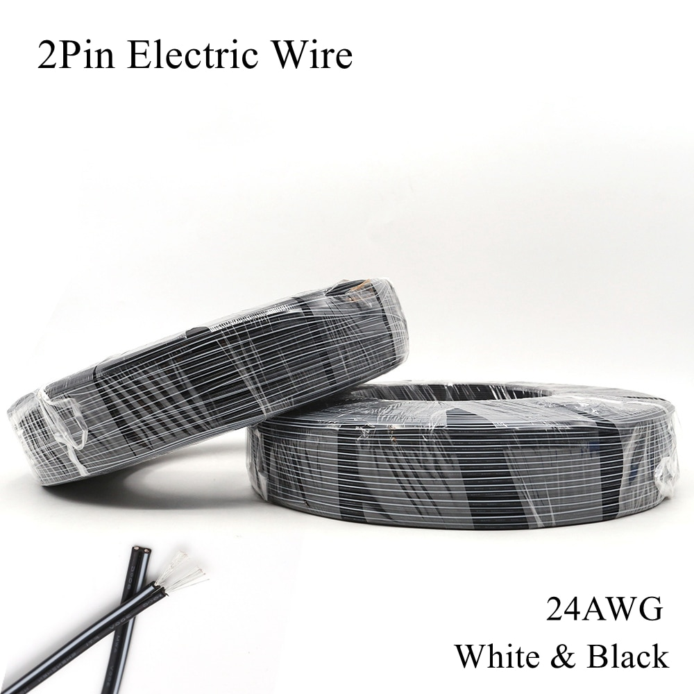 24AWG 2Pin Cable eléctrico blanco negro Cable de cobre estañado PVC Electrica...